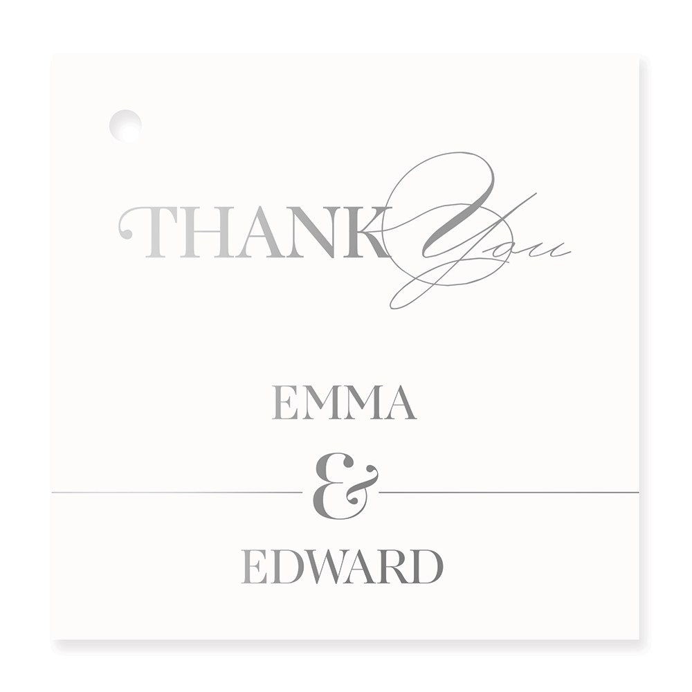 Personalized Metallic Foil Square Favor Tag - Classic Script