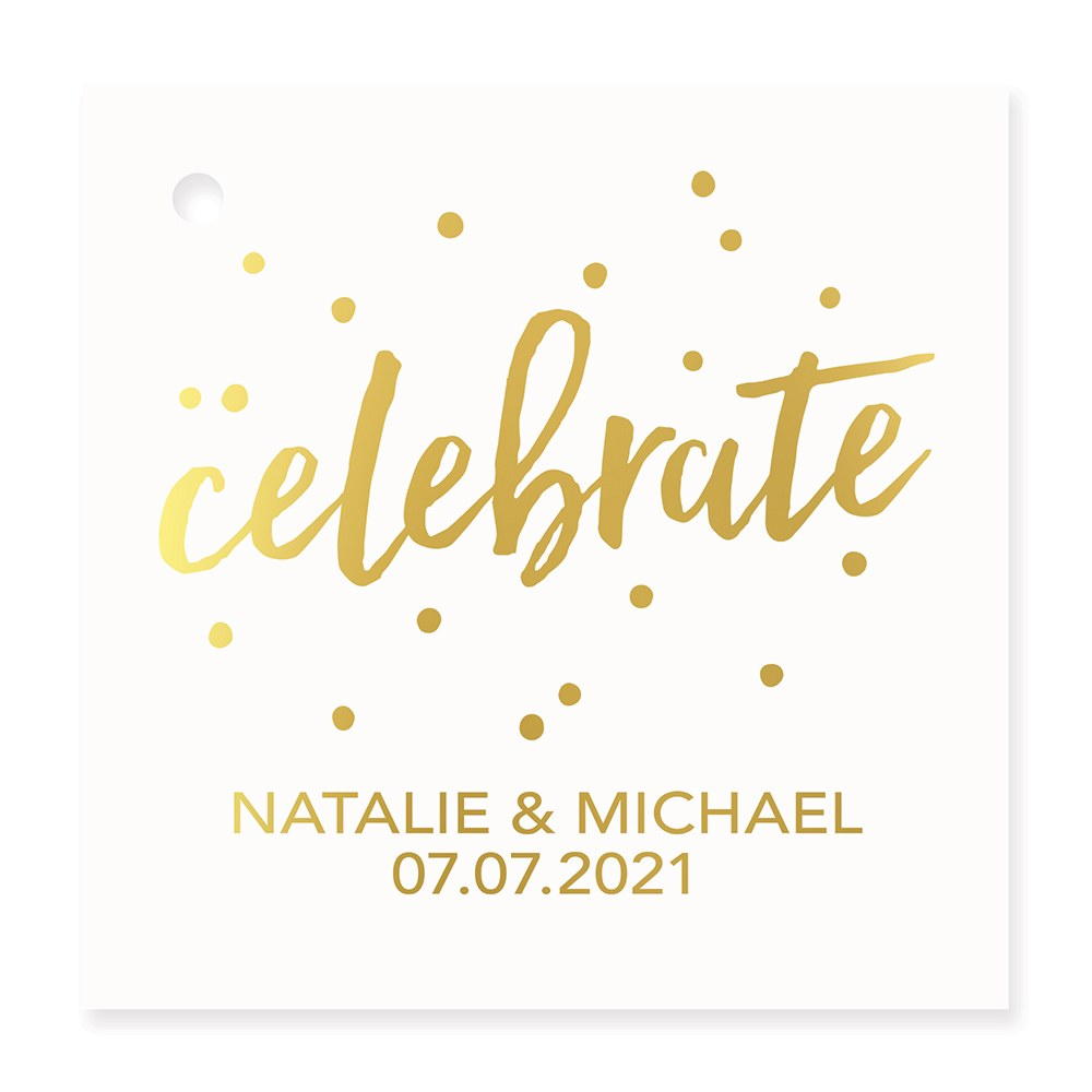 Personalized Metallic Foil Square Favor Tag - Celebrate