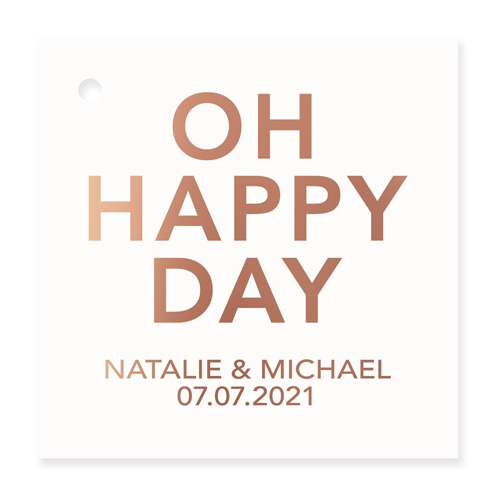Personalized Metallic Foil Square Favor Tag - Oh Happy Day