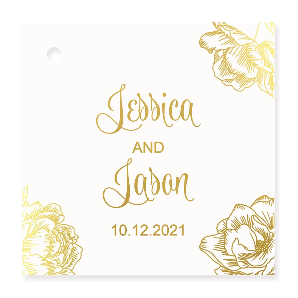 Personalized Metallic Foil Square Favor Tag - Modern Floral