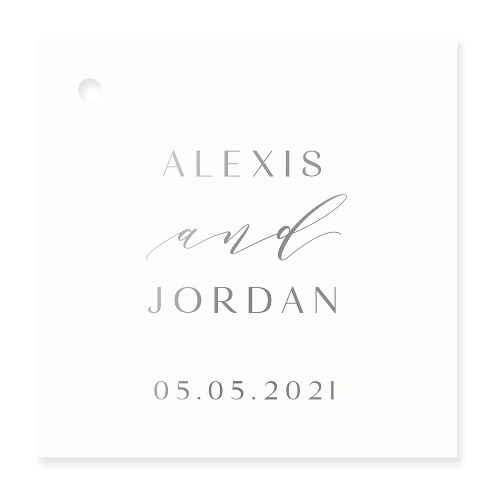 Personalized Metallic Foil Square Favor Tag - Modern Couple