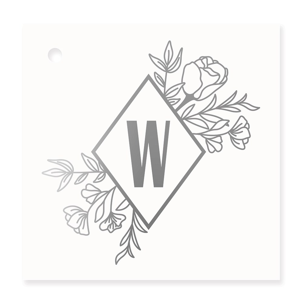 Personalized Metallic Foil Square Favor Tag - Floral Monogram