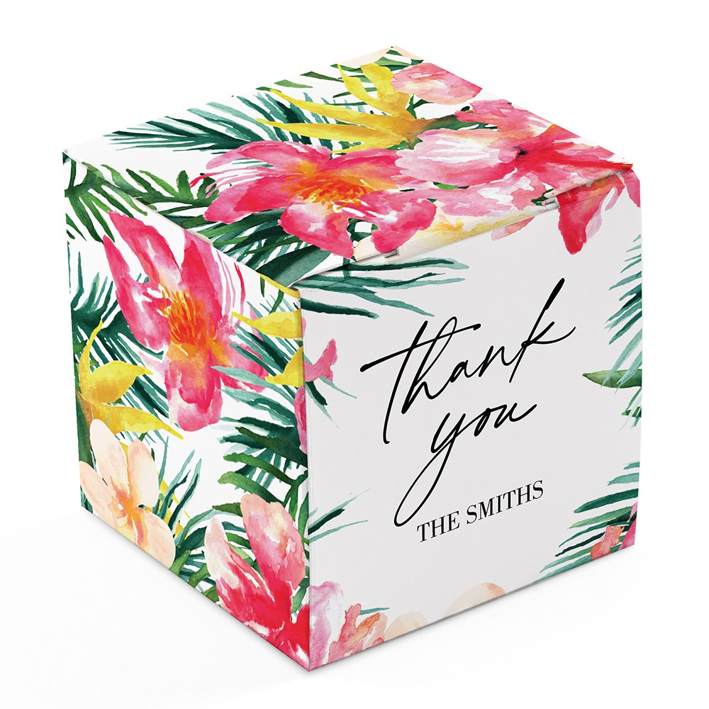 Miniature Custom Printed Square Paper Favor Boxes - Tropical Floral