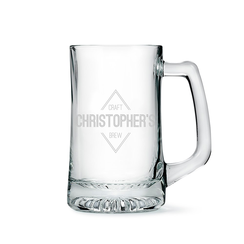 Personalized 14 Oz Glass Beer Mug – Diamond Emblem Engraving