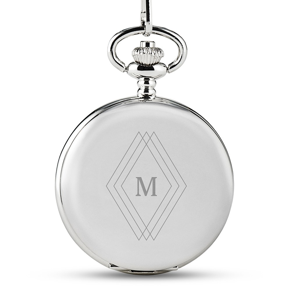 Personalized Silver Mechanical Pocket Watch & Fob - Diamond Emblem Monogram
