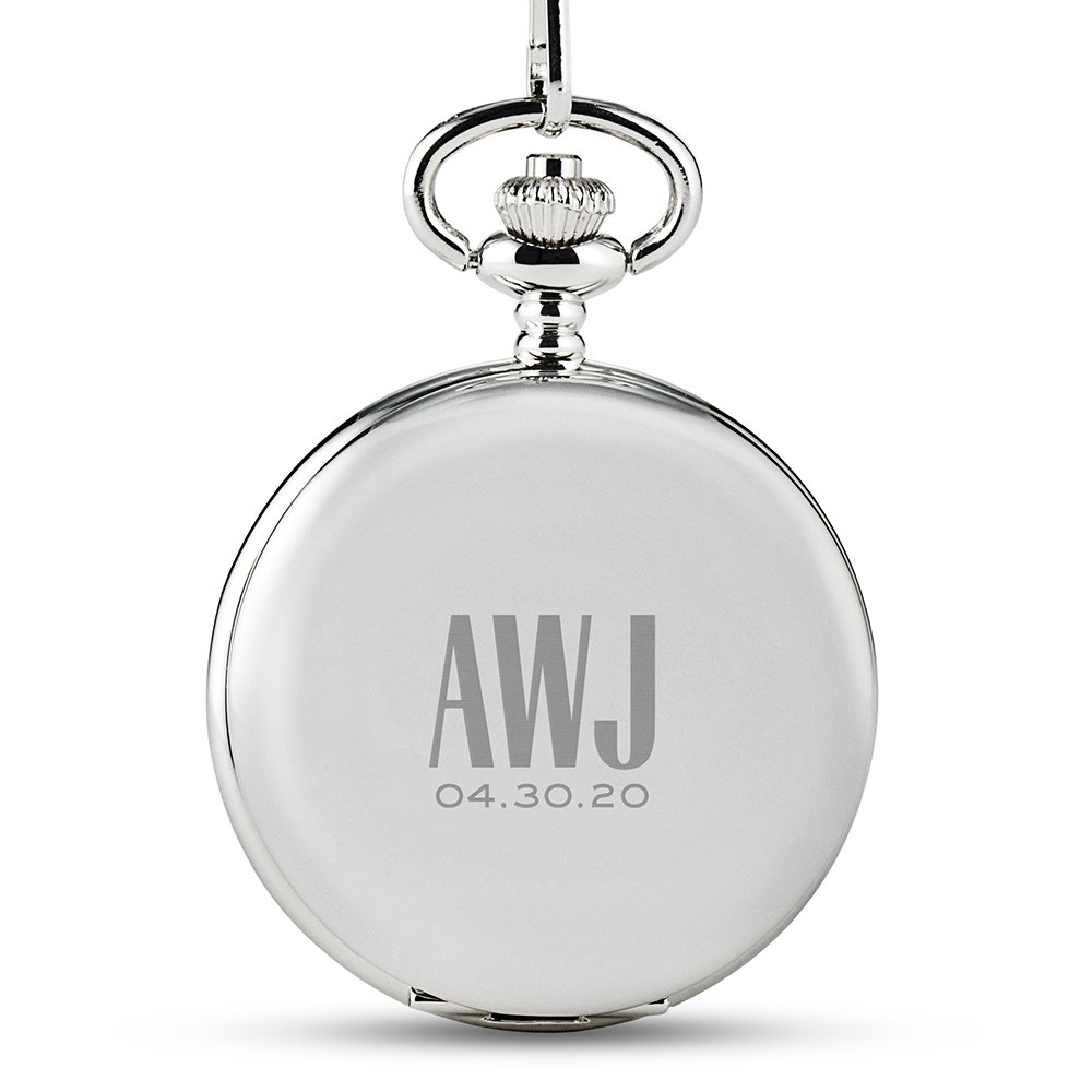 Personalized Silver Mechanical Pocket Watch & Fob - Sans Serif Monogram