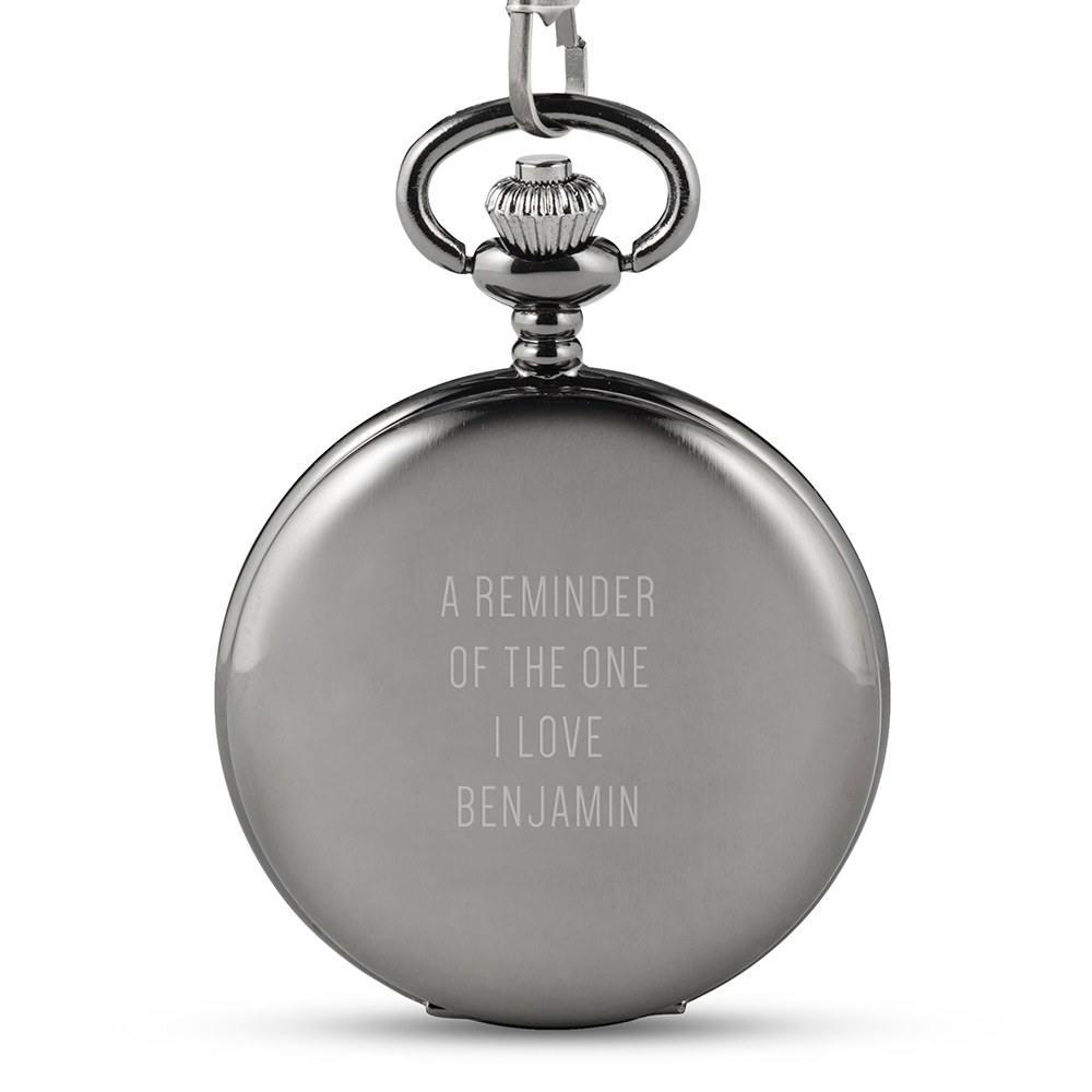 Personalized Gunmetal Pocket Watch & Fob - Custom Text