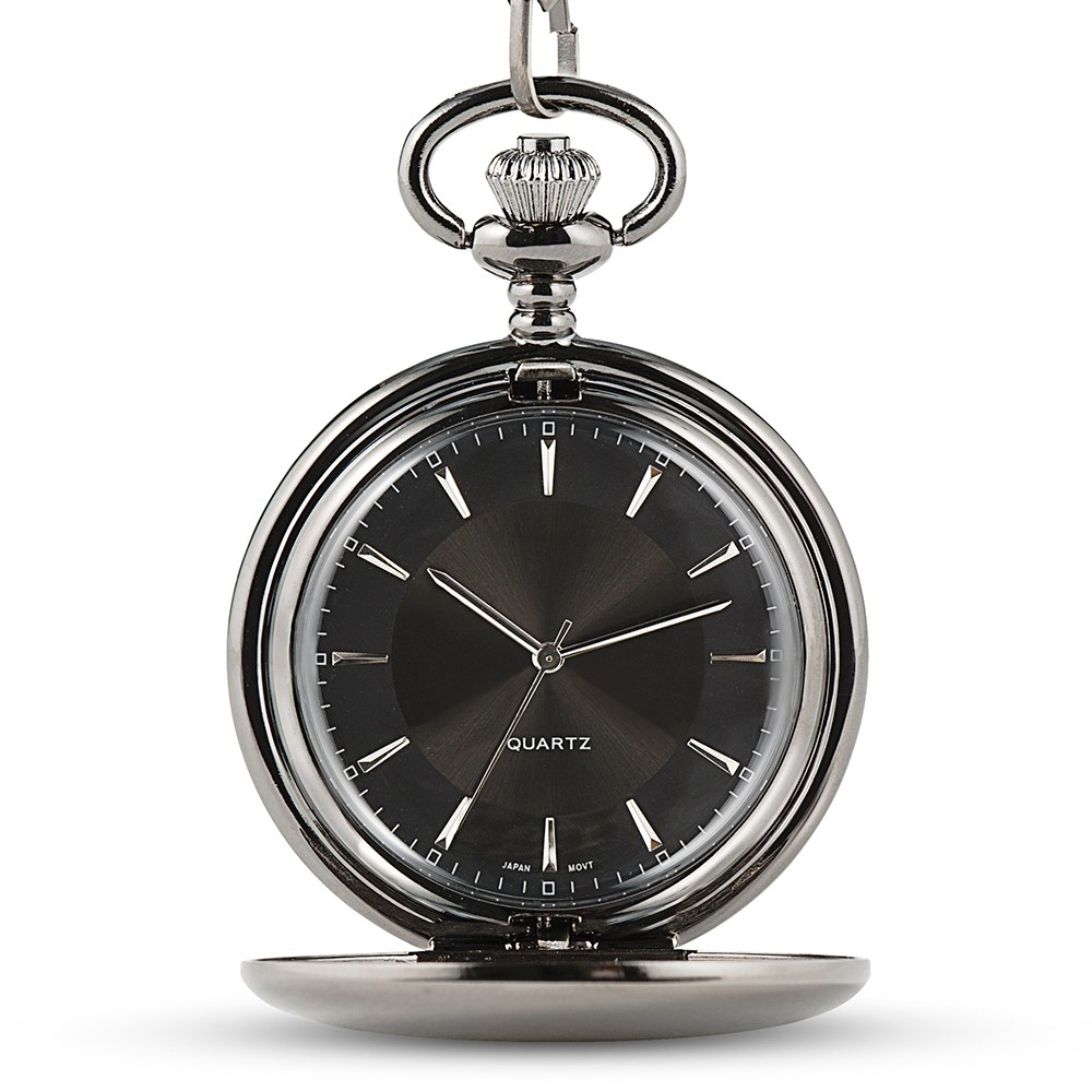 Personalized Gunmetal Pocket Watch & Fob - Sans Serif Monogram