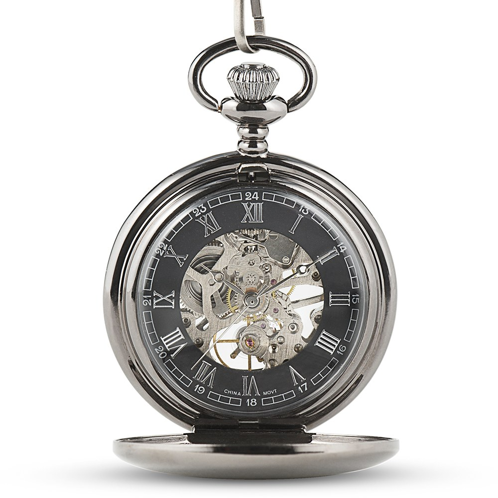 Personalized Gunmetal Mechanical Pocket Watch & Fob - Sans Serif Monogram
