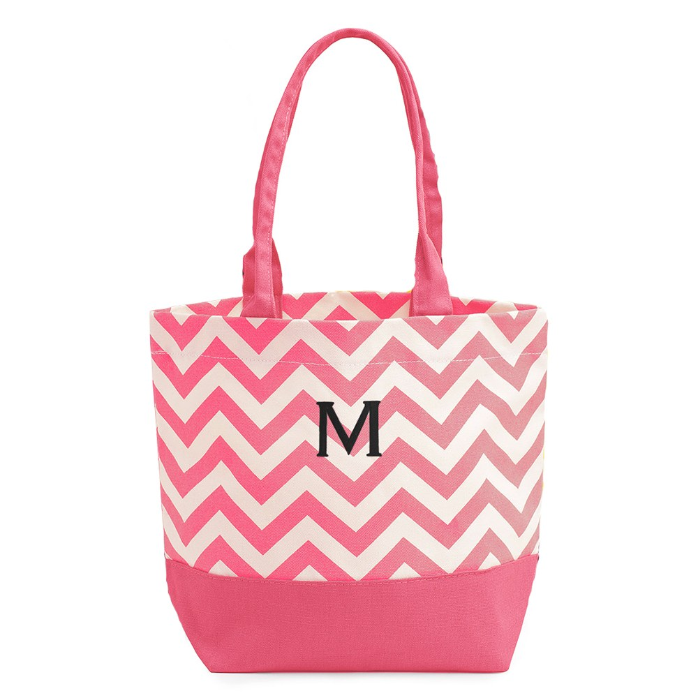 Chevron Canvas Tote Pink