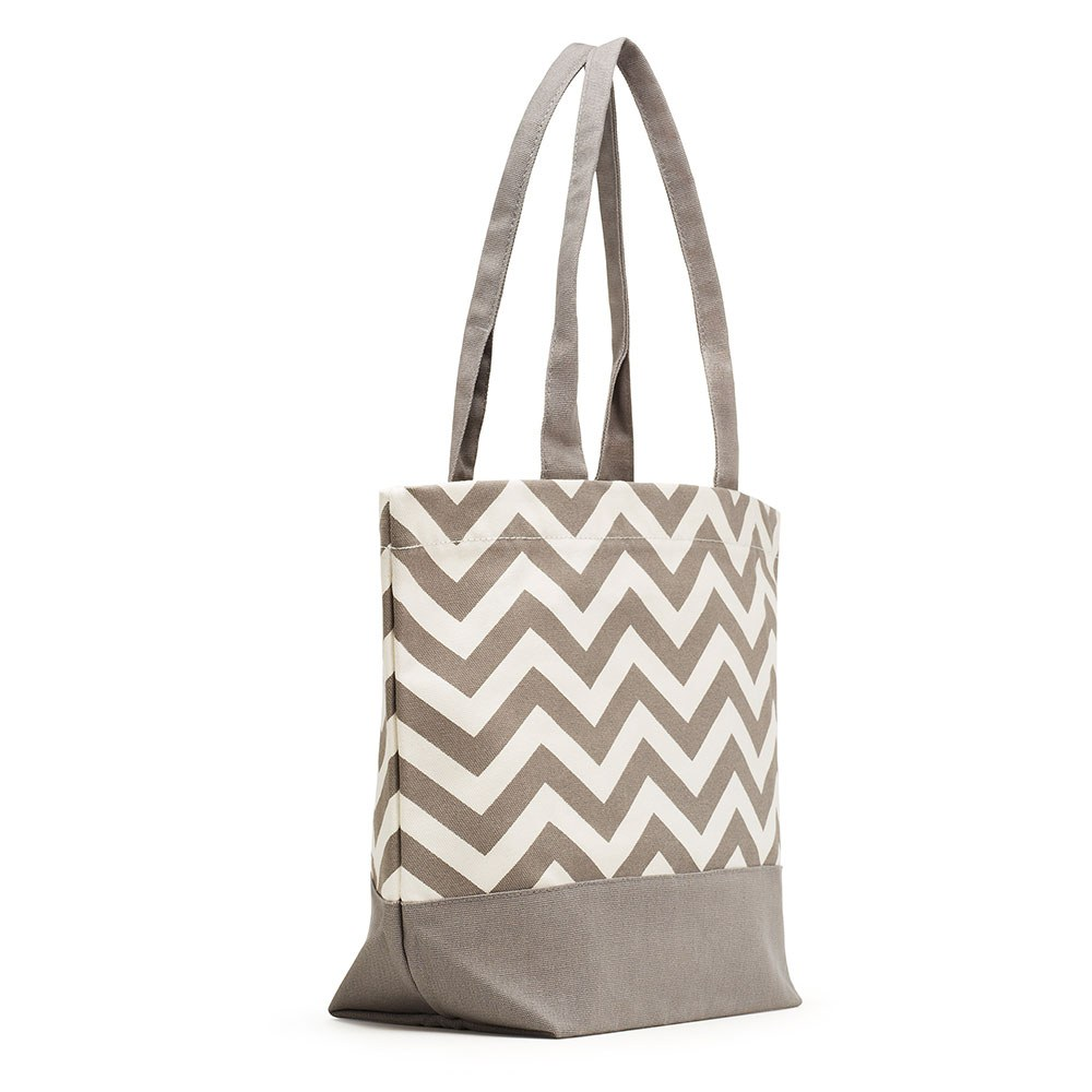 Chevron Canvas Tote Gray