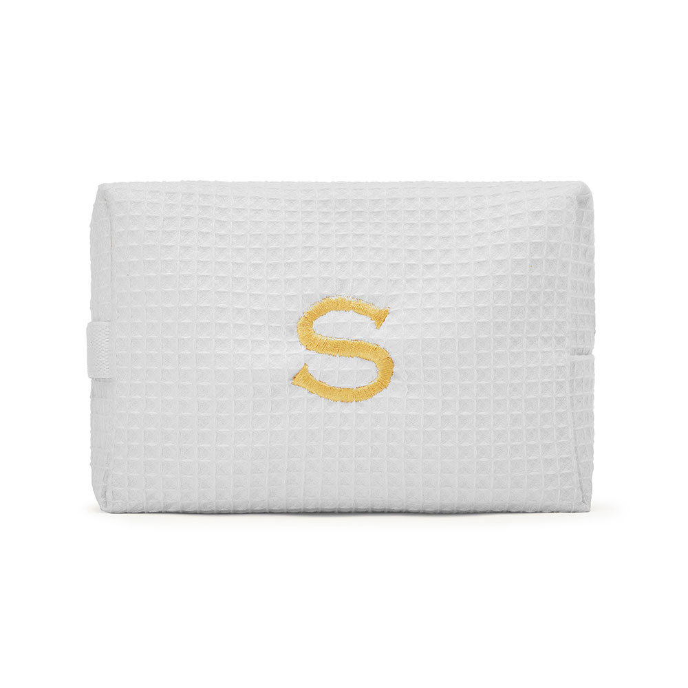 Large Cotton Waffle Cosmetic Bag White