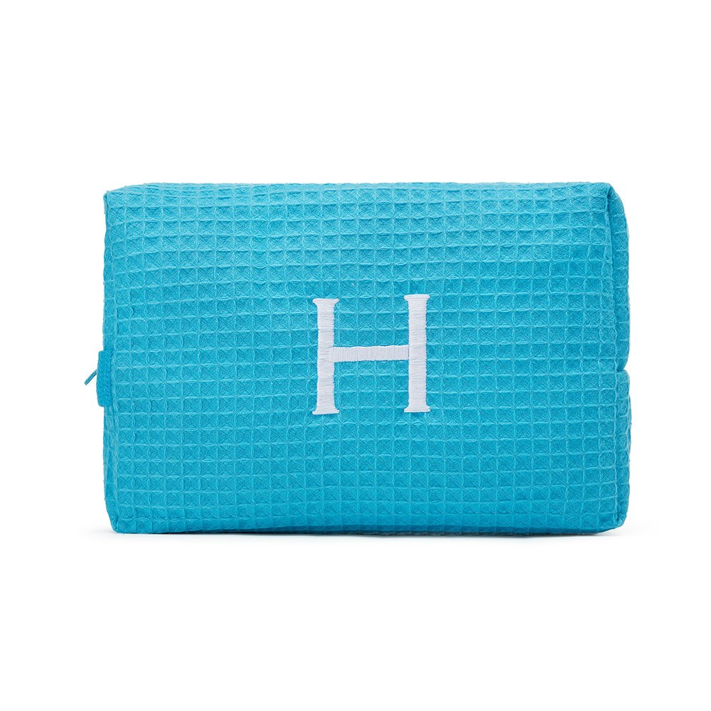 Large Cotton Waffle Cosmetic Bag Turquoise