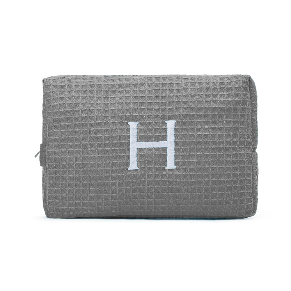 Large Cotton Waffle Cosmetic Bag Gray