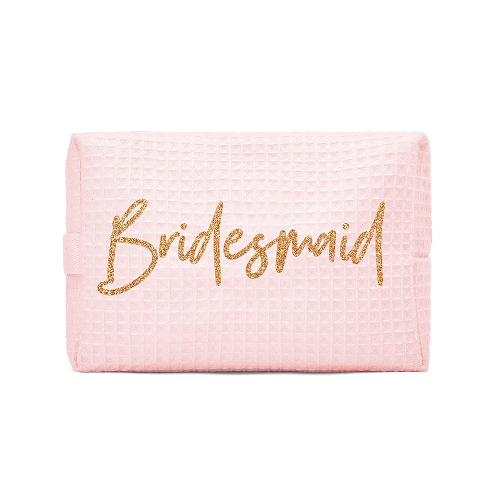 Women's Personalized Cotton Waffle Makeup Bag - Bridesmaid