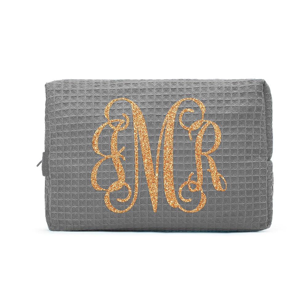 Women's Personalized Cotton Waffle Makeup Bag - Monogram
