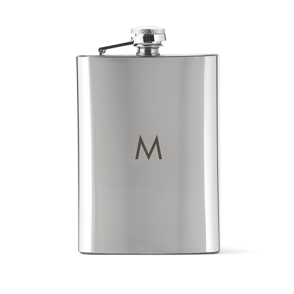 Personalized Silver Stainless Steel Hip Flask – Simple Monogram Engraving
