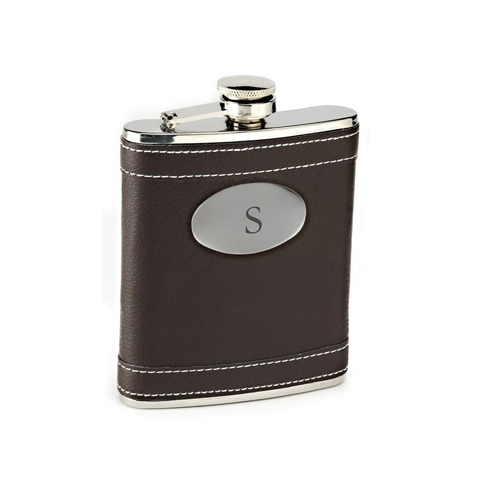 Personalized Brown Faux Leather Wrapped Stainless Steel Hip Flask – Monogram Engraving