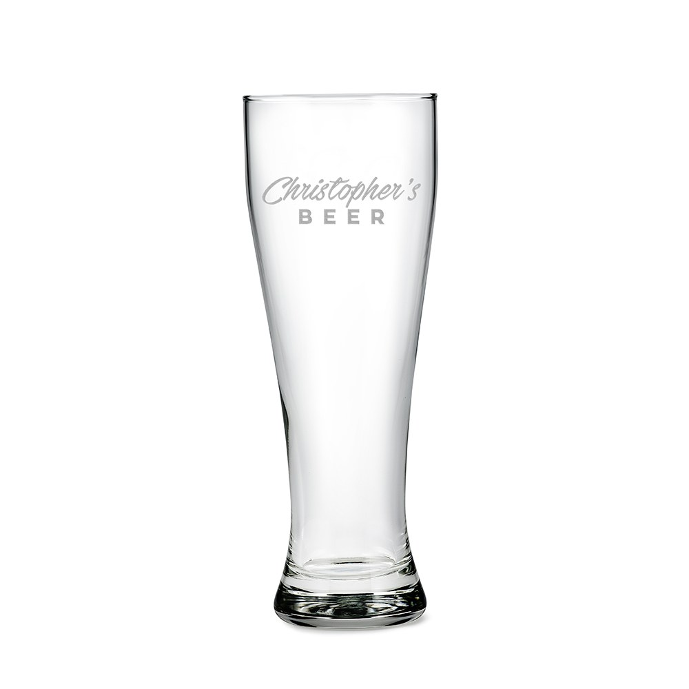 Personalized Large Pilsner Glass – Casual Font Engraving