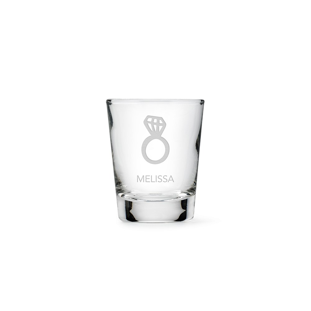 Personalized Clear 1 oz. Shot Glass - Diamond Ring
