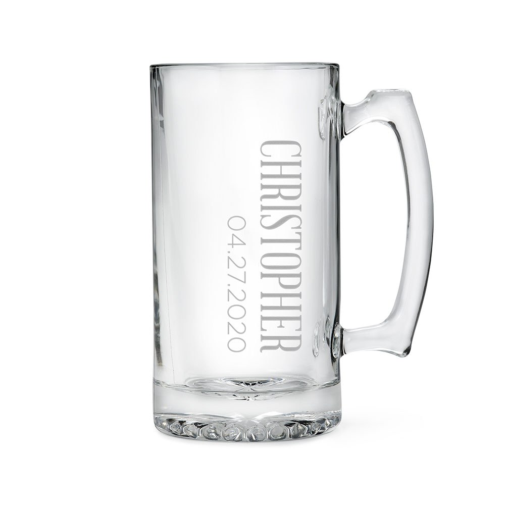 Personalized Large Glass Beer Mug – Vertical Monogram Engraving