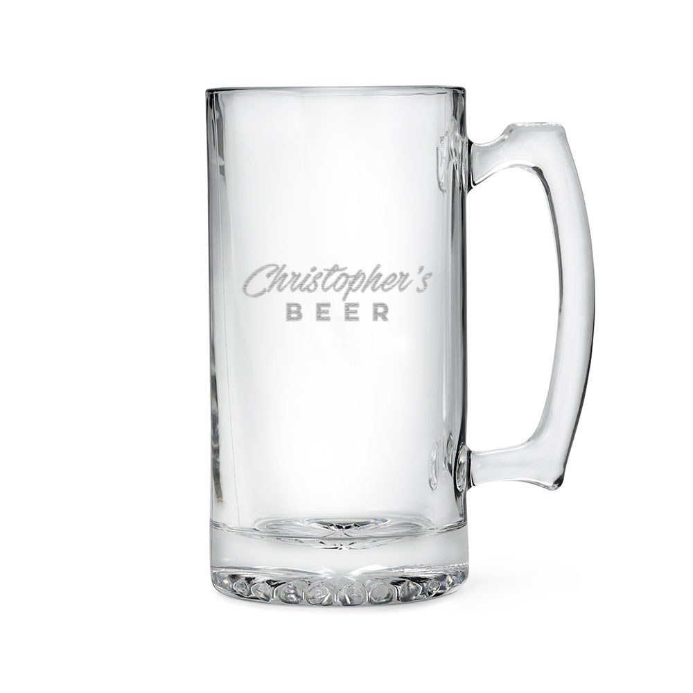 Personalized Large Glass Beer Mug – Casual Script Font Engraving