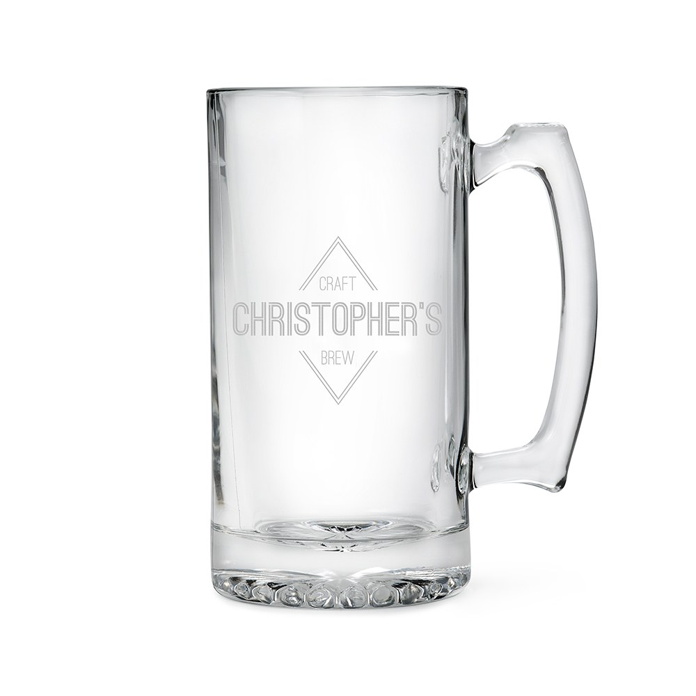 Personalized Large Glass Beer Mug – Diamond Emblem Engraving