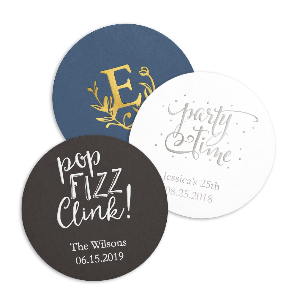 Beverage Coasters Set of Round Personalized Drink Coasters Bar//Dining Accessories Round, Pack of 6 Printed Wooden