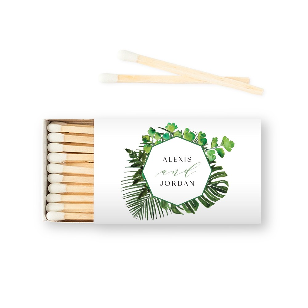 Custom Matchbox Wedding Favor - Greenery