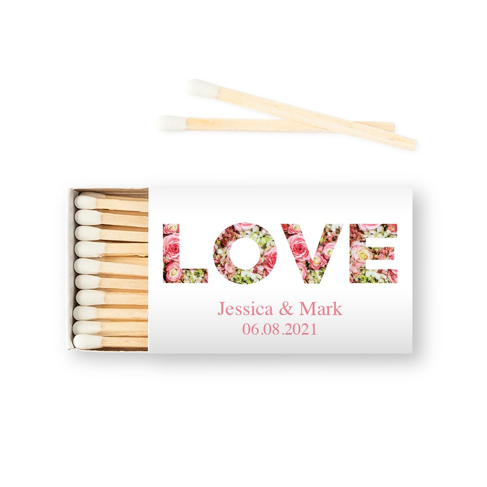 Custom Matchbox Wedding Favor - Floral Love