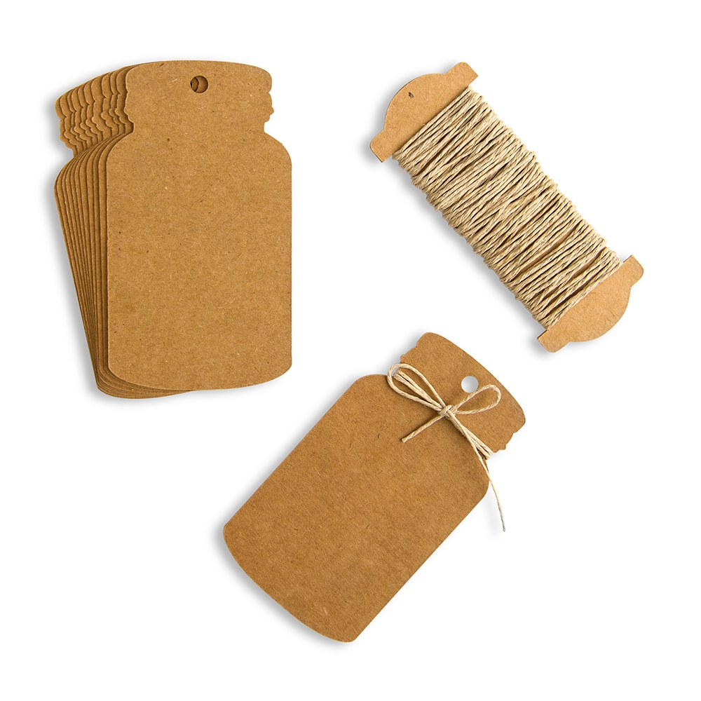 Kraft Paper Mason Jar Favor Tag with Twine