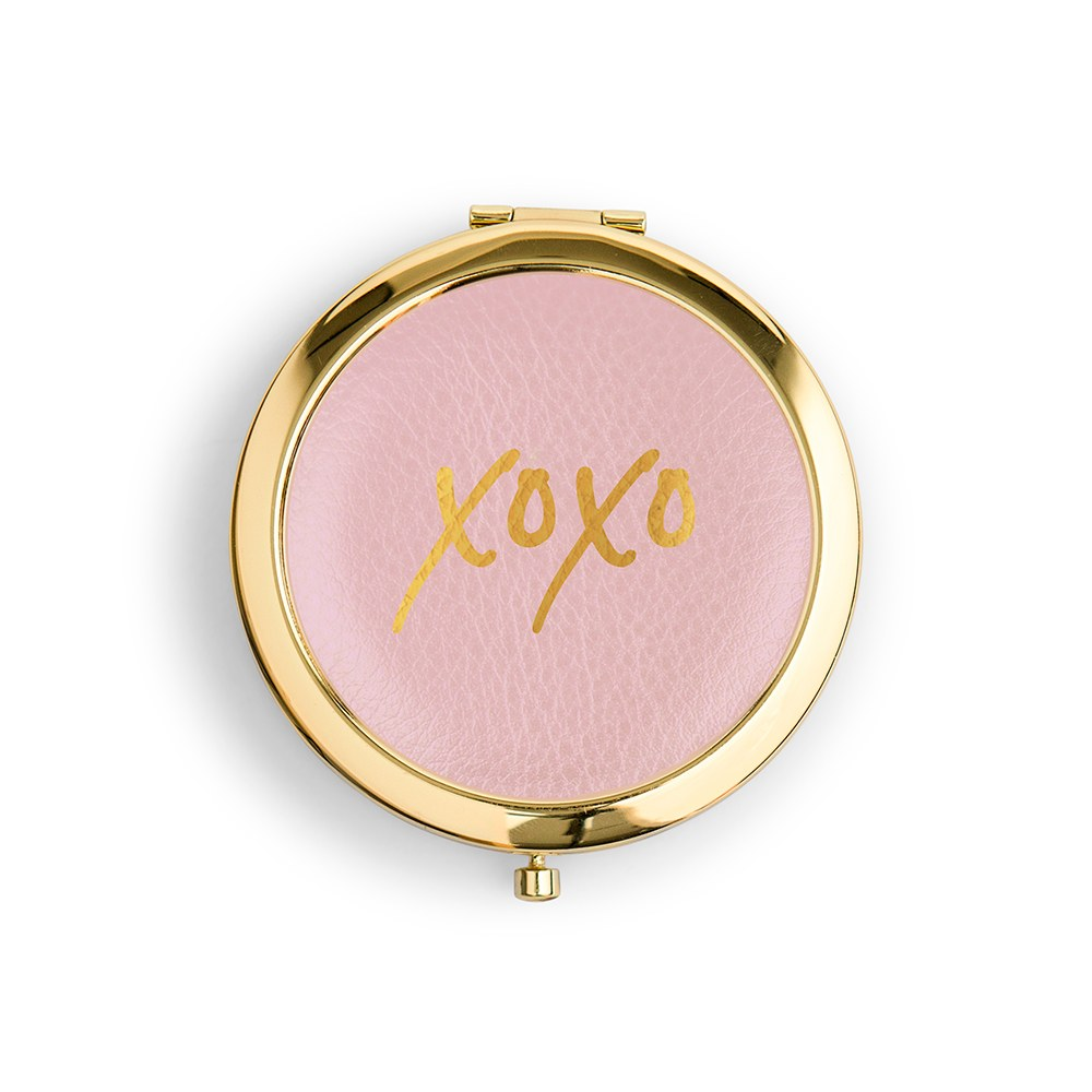 Personalized Engraved Faux Leather Compact Mirror - XOXO