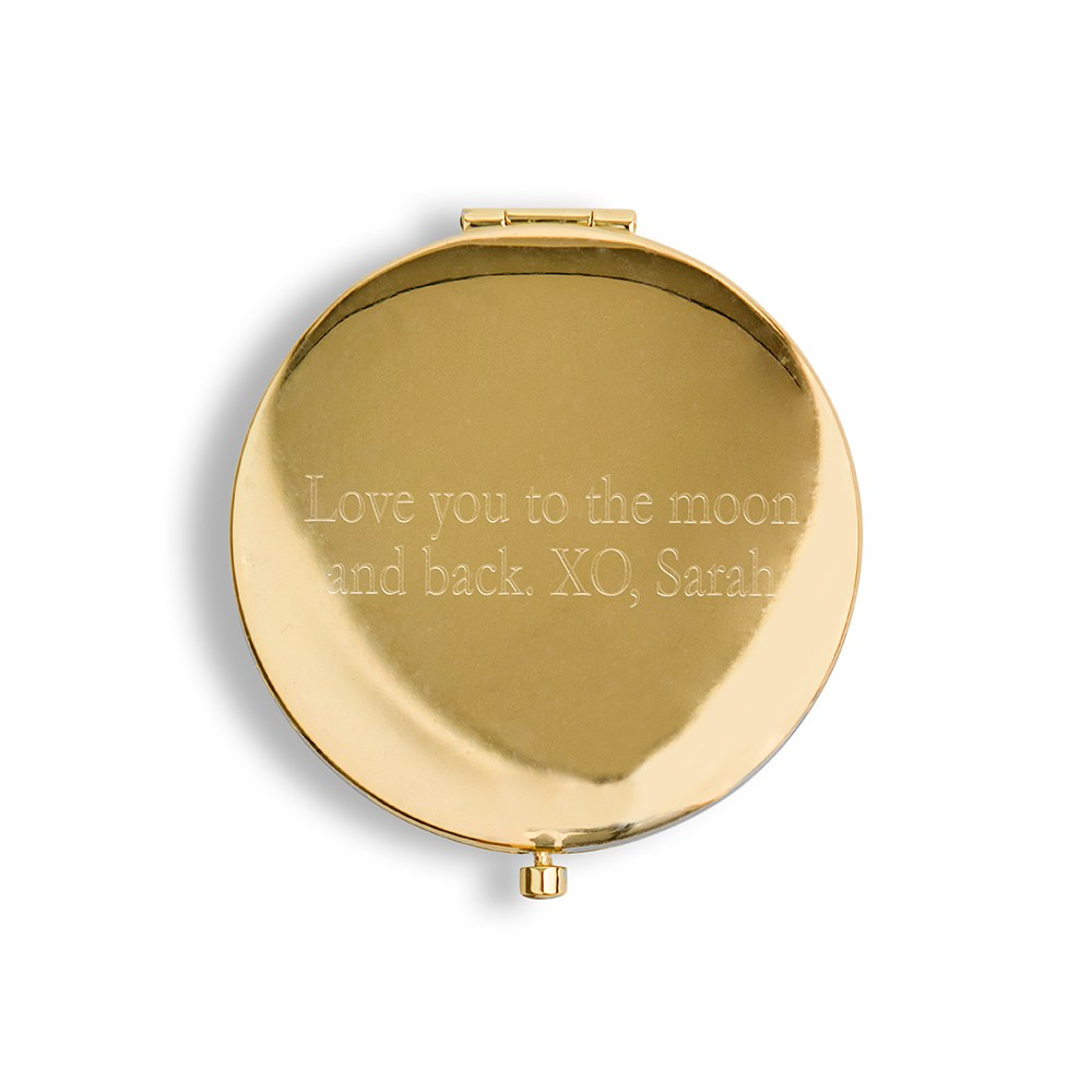 Personalized Engraved Faux Leather Compact Mirror - Team Bride