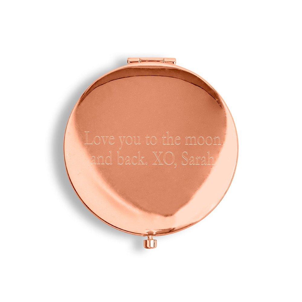Personalized Engraved Bridal Party Pocket Compact Mirror - Bridesmaid Garden Party