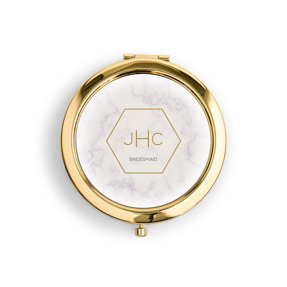 Personalized Engraved Bridal Party Pocket Compact Mirror - Geo Marble