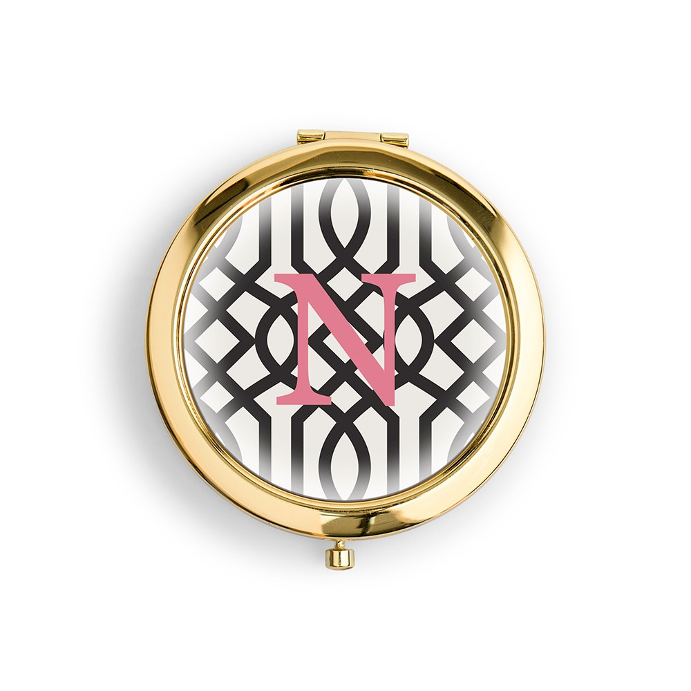 Personalized Engraved Bridal Party Compact Mirror – Geometric Trellis