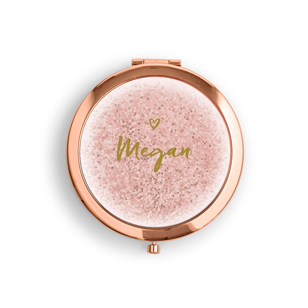 Personalized Engraved Bridal Party Compact Mirror - Sweet Heart