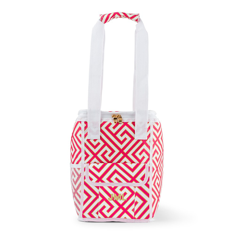 On The Go Cooler Bag Pink & White Greek Key