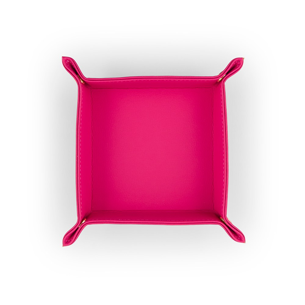 Vegan Leather Jewelry Tray– Small Solid Fuchsia Pink