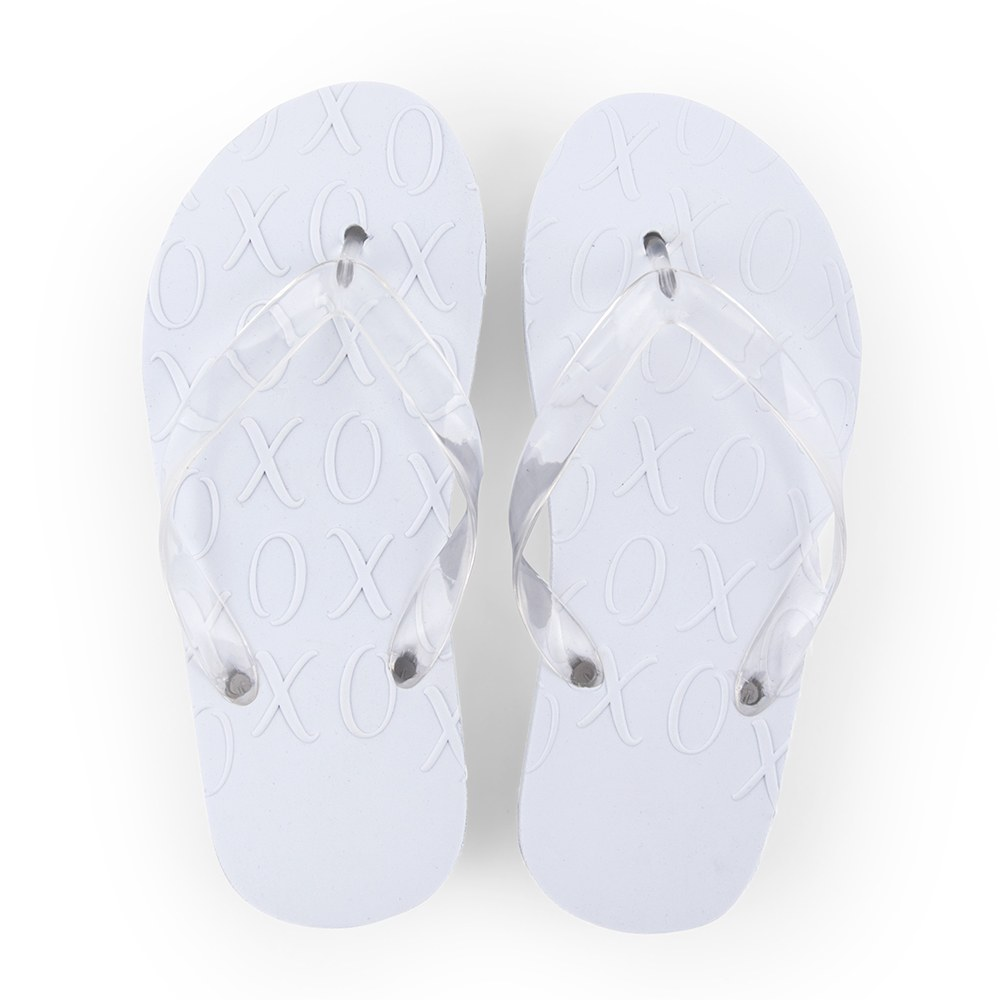 Best Day Ever Wedding Favor Flip Flops - Ivory White