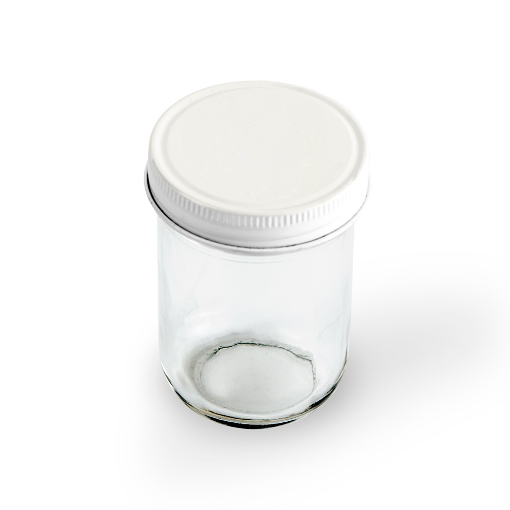 Glass Mason Jar with White Solid Lid   Printed