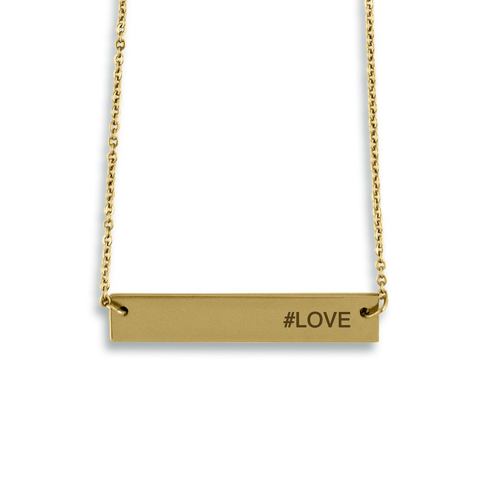 Personalized Gold Horizontal Tag Necklace – Modern Sans Serif Font Engraving
