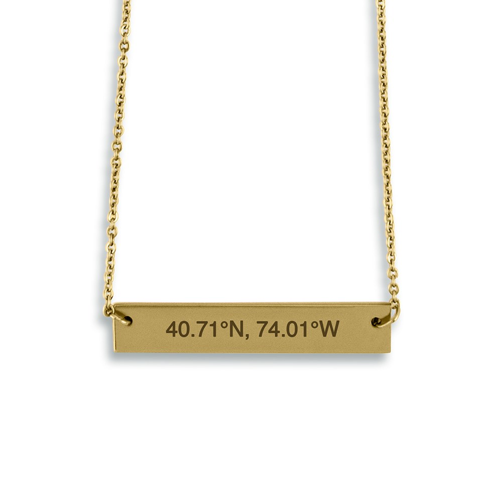 Personalized Gold Horizontal Tag Necklace – Coordinates Engraving