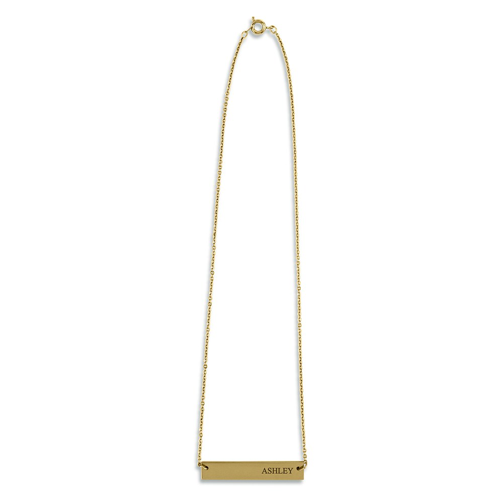 Personalized Gold Horizontal Tag Necklace – Classic Serif Font Engraving