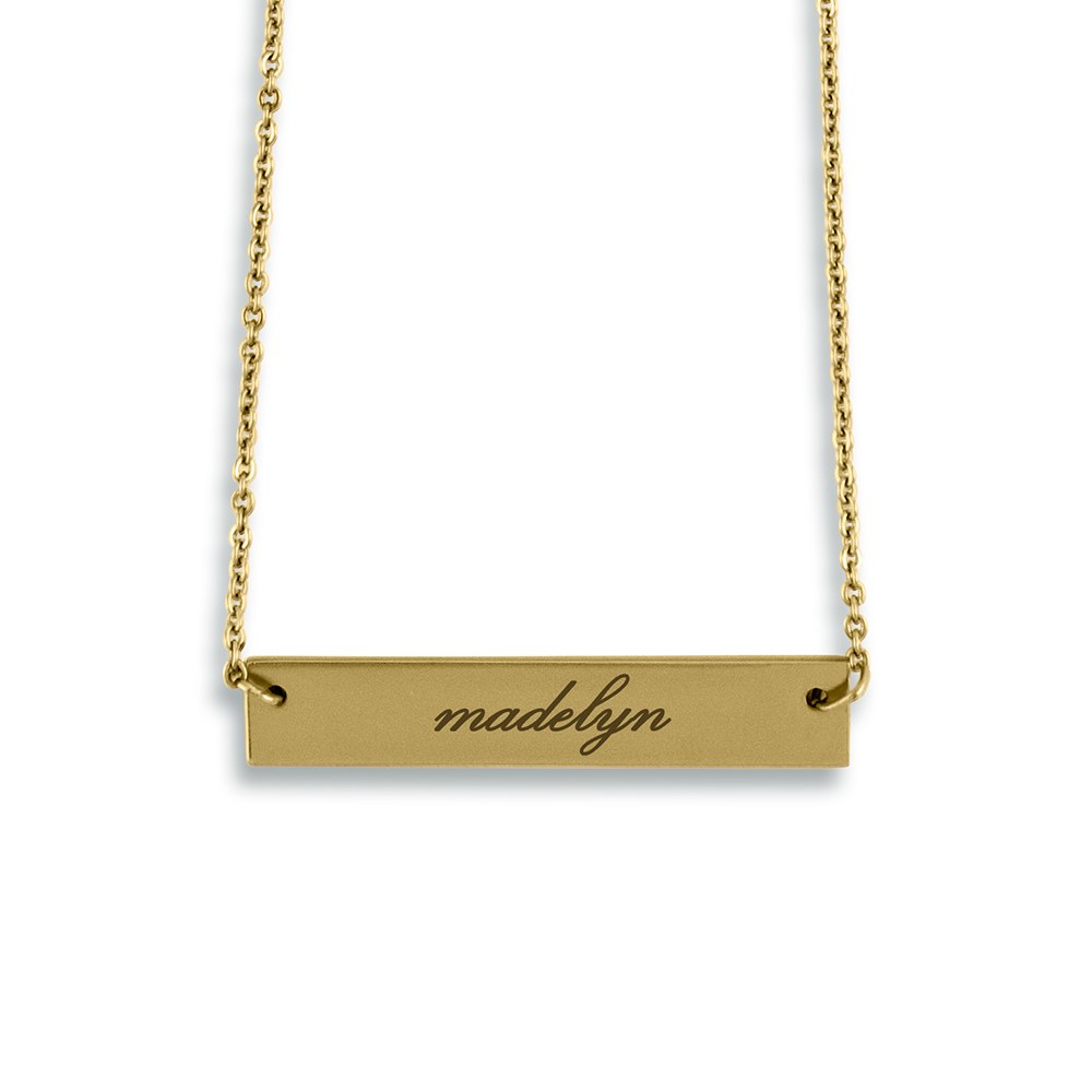 Personalized Gold Horizontal Tag Necklace – Script Font Engraving