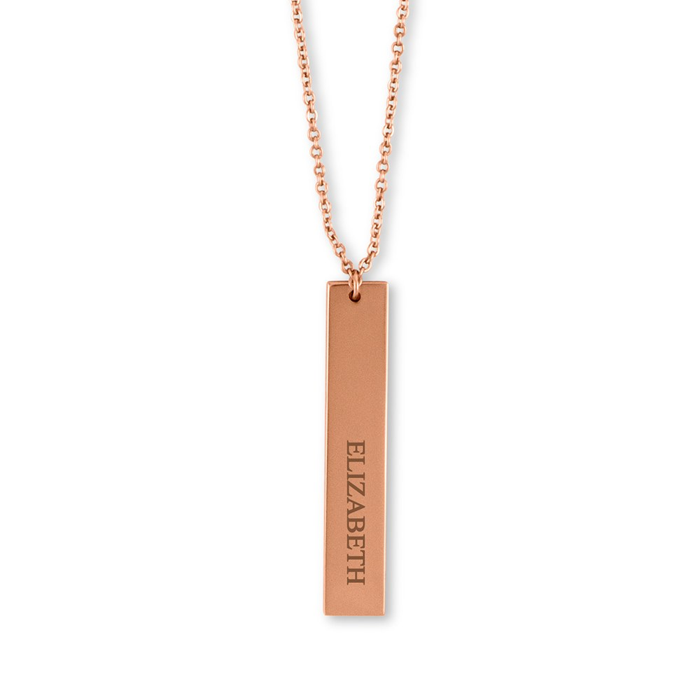 Personalized Rose Gold Vertical Tag Necklace – Classic Serif Font Engraving