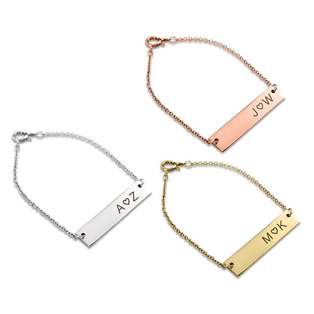 Personalized Horizontal Tag Bracelet - Monogram Heart Engraving