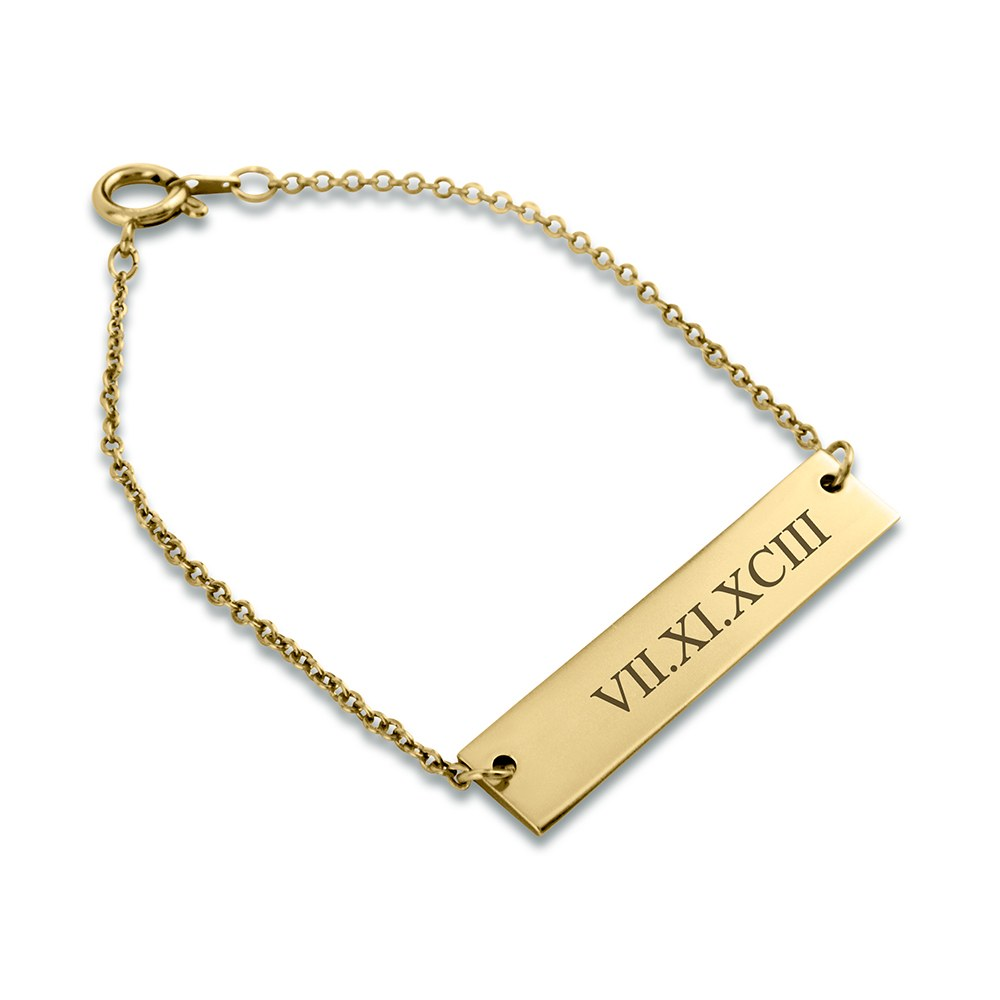 Personalized Horizontal Tag Bracelet - Roman Numerals Engraving