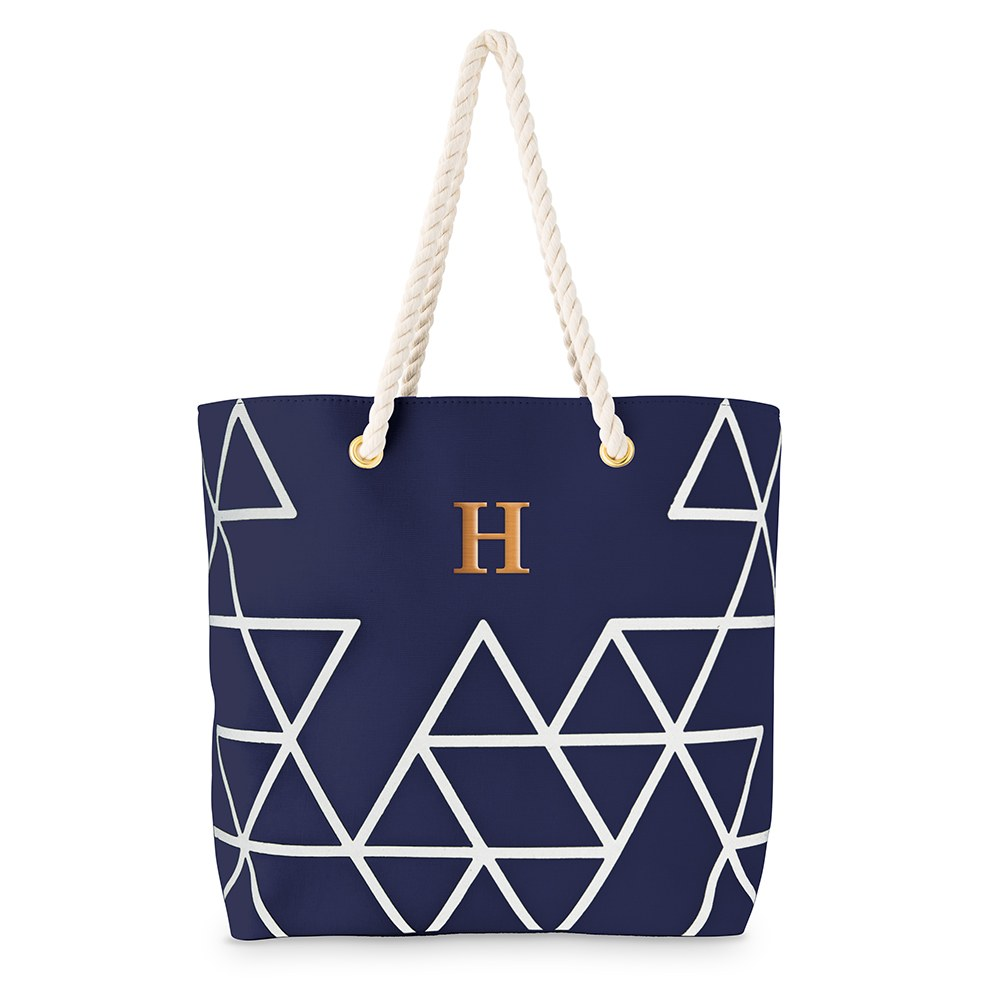 Personalized Extra-Large Geo Cotton Fabric Canvas Tote Bag - White on Blue