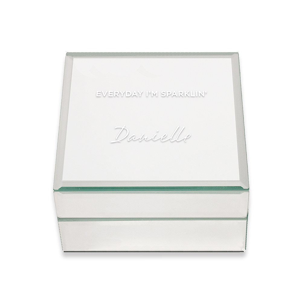 Small Personalized Mirrored Jewelry Box- I'm Sparklin'